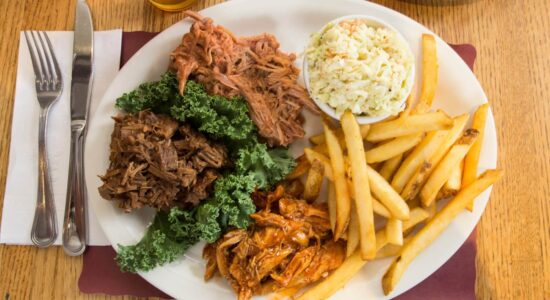 Adams Grille and Taphouse Edgewater BBQ meat with fries and coleslaw