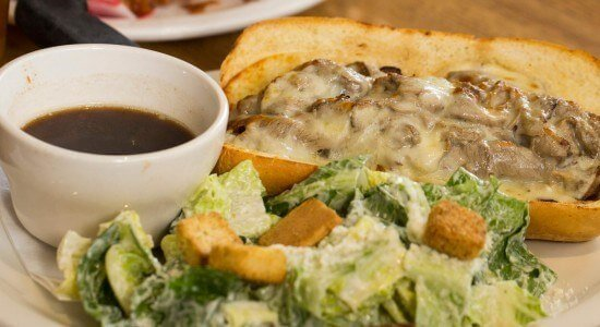Adam's French Dip au jus and caesar salad